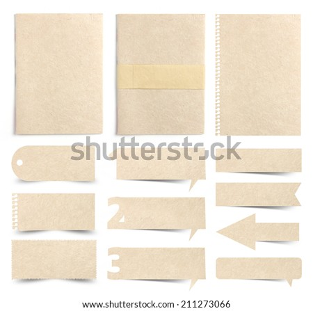 Paper textures background, isolated on white background ( paper sheets, note paper, paper stick, paper numbers speech bubble ) - stock photo