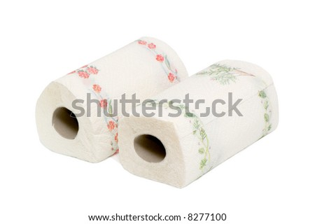 Paper towels isolated on a white background. - stock photo