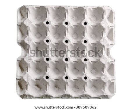 Paper tray for egg isolated on white background. - stock photo