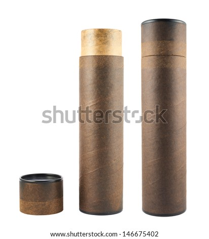 Paper tube made of old brown cardboard isolated over white background, set of two foreshortenings, opened and closed - stock photo