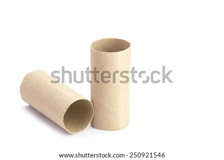 Paper tube of toilet paper isolated on white background
