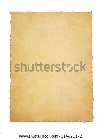 paper vintage parchment isolated on white background - stock photo