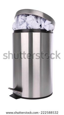 Paper waste in trash can scratch surface on white background.
