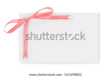 paper with a bow isolated on white