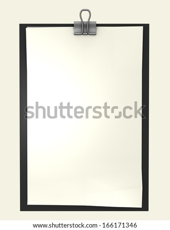 paper with clips isolated and empty copy space illustration, perfect template for any messages presentations - stock photo