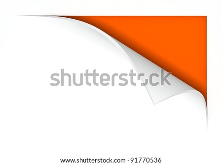 paper with curl, 3d image - stock photo