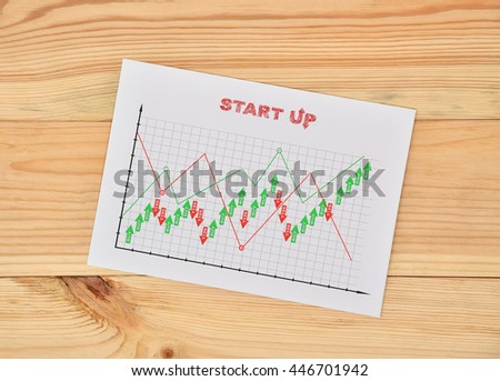 paper with drawing start up concept on wooden table - stock photo