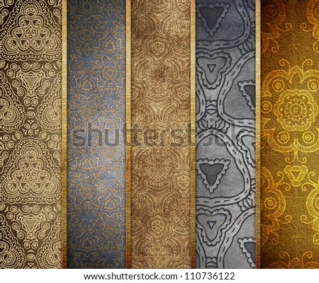Paper with ornaments. Banner set - stock photo