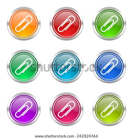 paperclip icons set   - stock photo