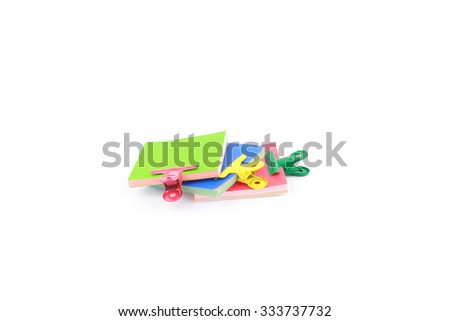 Paperclips with memo note - stock photo