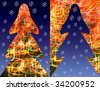 Papercutting  - Christmas tree with blurred light lamp and snowflakes on dark blue background. - stock photo