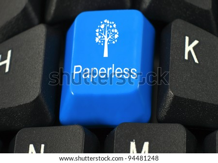 Paperless word on blue and black keyboard button - stock photo