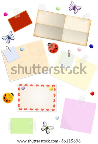 Papers of different colors, pasted by an adhesive tape - stock photo