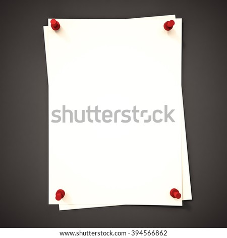 Papers with red pin on black background, 3d rendered - stock photo