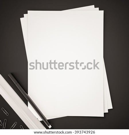Papers with ruler, pen and clips on black background, 3d rendered - stock photo