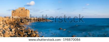 Paphos castle. Cyprus. Panoramic photo - stock photo