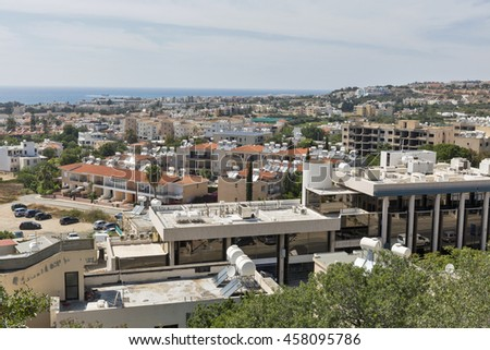 Paphos cityscape, residential district. Paphos is a Mediterranean coastal city in the southwest of Cyprus, Europe.