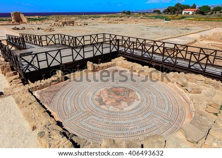 PAPHOS, CYPRUS - MARCH 11, 2016: Ancient mosaics at the Archaeological Helenistic and Roman site at Kato Paphos in Cyprus. - stock photo