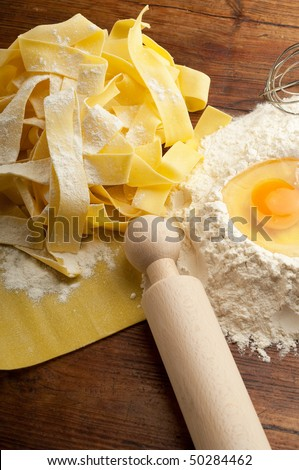 pappardelle homemade pasta typical italian close up - stock photo