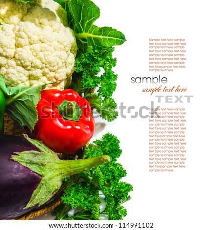 Paprika cauliflower and eggplant isolated on white background - stock photo