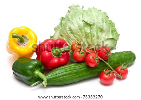 paprika,cucumber,tomatoes and salad over white background - stock photo