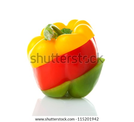 Paprika made out of mixed colorful slices over white background