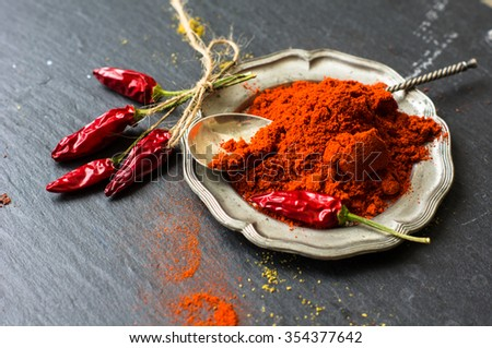 Paprika pepper spices and wintage silverware on rustic background - stock photo