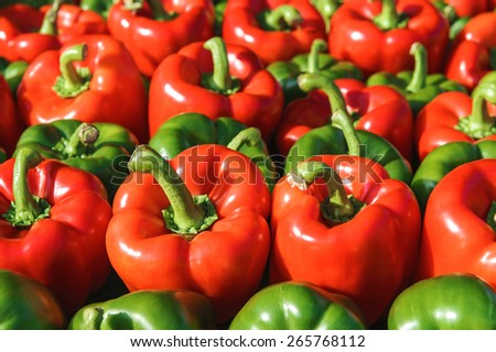Paprika Peppers at a farmers market - stock photo