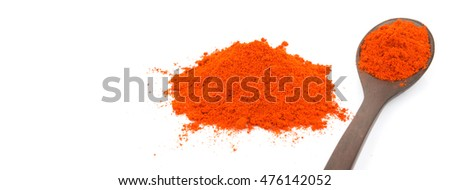 Paprika powder in wooden spoon over white background