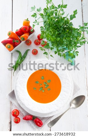 Paprika soup - stock photo