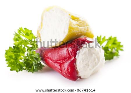 Paprika stuffed with feta cheese - stock photo