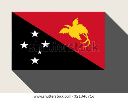 Papua New Guinea flag in flat web design style. - stock photo