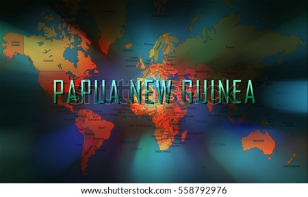 Papua New Guinea word on bokeh background and world map.