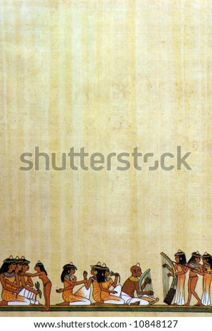 papyrus background with egyptian painted relief - stock photo