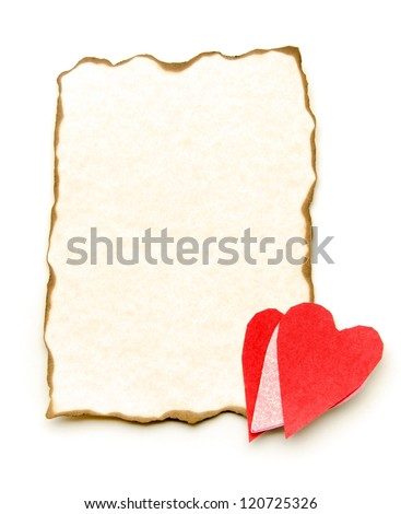 Papyrus paper with heart - stock photo
