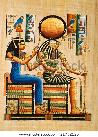 Papyrus showing the gods Re-Harakhte and Hathor. Copy of a painting from  Nefertaris tomb in Thebes, Egypt.