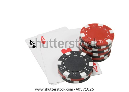 Par of aces and poker chips