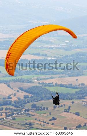 Para glider in the alps, Slovenia - stock photo