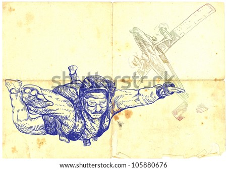 parachutist jumped from a plane, hand drawing, vintage processing - stock photo