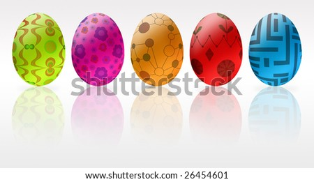 Parade of colorful, painted easter eggs with reflection and white background