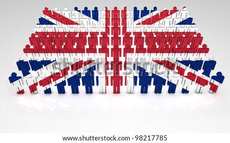 Parade of 3d people forming a top view of British flag. With copyspace.