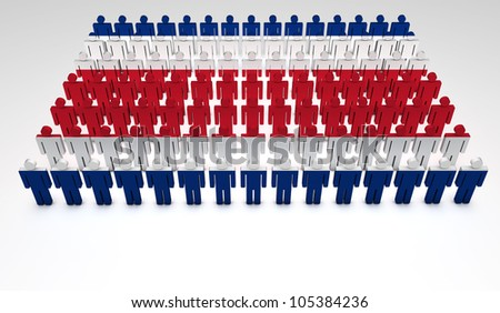 Parade of 3d people forming a top view of Costa Rican flag. With copyspace. - stock photo