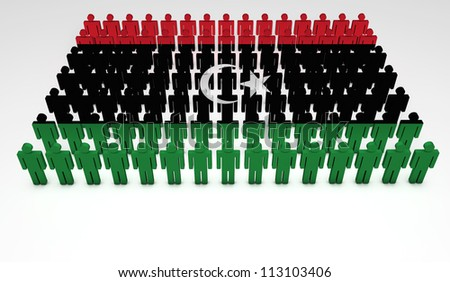 Parade of 3d people forming a top view of Libya flag. With copyspace.