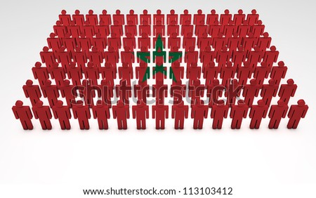 Parade of 3d people forming a top view of Moroccan flag. With copyspace.