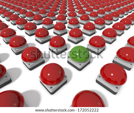 Parade of Red Gameshow Buzzers, One Green Buzzer in Center, Standing Out, clean 3d rendering on white background