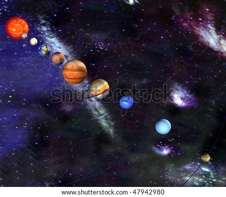 Parade of the planets - stock photo