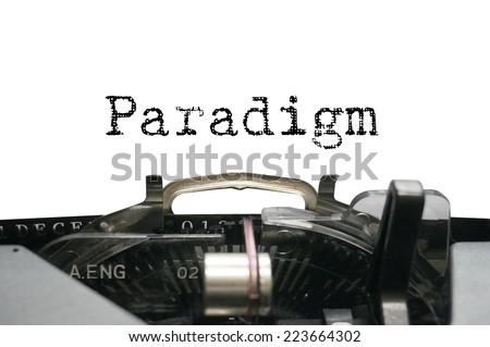 Paradigm on typewriter - stock photo