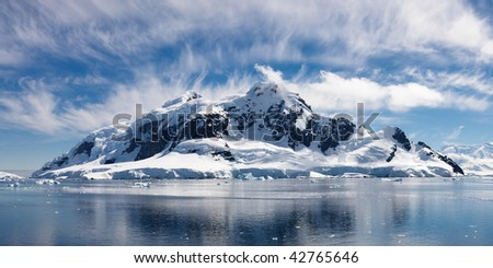 Paradise Bay, Antarctica - Panoramic View of the Majestic Icy Wonderland near the South Pole - stock photo