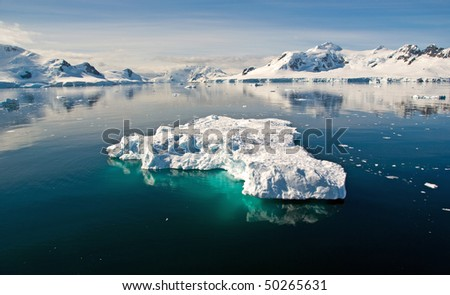 Paradise Bay with floating iceberg, Antarctica - stock photo