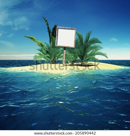 Paradise island in ocean with billboard - stock photo